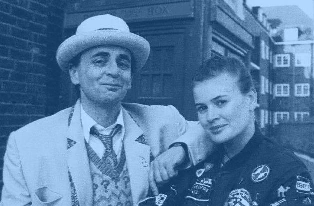Ace (Sophie Aldred) and the Seventh Doctor (Sylvester McCoy). Smug beggar, isn't he?